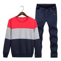 Wholesale cotton crew neck sweatshirt - 2018 New Brand Designer Tracksuit Hoodie Higt Quality Mens Clothing Sweatshirt Pullover Casual Tennis Sport Tracksuits Sweat Suits