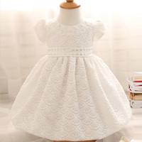 Wholesale Newborn Baby Girl White Dress - Baby Girl Dress 1 Year Girl Baby Birthday Dress Newborn White Christening Gown Beaded Bow Wedding Baptism