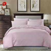 ingrosso biancheria da letto in cotone egiziano viola-4 pezzi di copriletto di raso viola Set di biancheria da letto di cotone egiziano di lusso