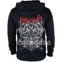 fermuar hoodies kafatasları toptan satış-10 tasarımlar Slayer Pamuk yumuşak Kaya hoodies kabuk ceket punk ağır metal fermuar kazak polar sudadera Kafatası eşofman