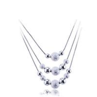 kleine kugelhalskette groihandel-Freies Verschiffen-Art- und Weiseelegante Damen-Halskette 925 kleine Kugel-hängende lange Halskette Mulit Ketten-Silber überzogene Schmucksache-liebevolles Geschenk
