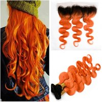 Wholesale Orange Hair Weave - Dark Rooted Orange Ombre Brazilian Human Hair Bundles with Lace Frontal #1B Orange Ombre 13x4 Lace Frontal Closure with Virgin Hair Weaves
