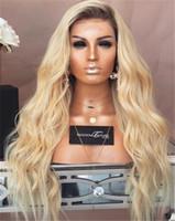 cabelo ombre para mulheres brancas venda por atacado-Raiz escura Onda Do Corpo Loiro Ombre # 1B 613 Do Cabelo Humano Perucas Cheias Do Laço Com o Cabelo Do Bebê Peruca Dianteira Do Laço Para A Mulher Branca