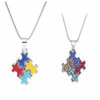 Wholesale puzzle pieces for sale - Autism Awareness Jigsaw Necklace Multicolor Crystal Puzzle Piece Pendant Necklace Jewelry for kids Men Women