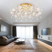 Wholesale warm hall lighting resale online - Modern living room crystal lamp ceiling Lights warm romantic flower wedding room bedroom lamp hall dining room crystal lighting
