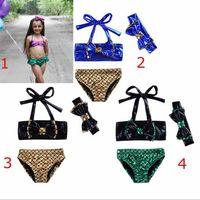 Wholesale Bikini Top Xs - 2018 fashion hot selling girl kids mermaid 3 pcs sets bikini summer girl cute top + short+ headband swimsuit free ship