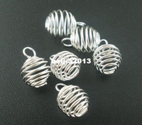 Wholesale wholesale christmas charms - Free Shipping 100pcs lot Silver Plated Spiral Bead Cages Pendants Findings 9x13mm Jewelry Findings New Jewelry making DIY