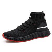 erkekler için korece sokak modası toptan satış-Erkek nefes çorap ayakkabı 2018 Kore versiyonu moda erkek kişilik ağ kırmızı rahat eğilim erkek ayakkabı sokak vurdu yüksek ayakkabı