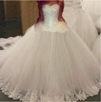 Wholesale plus size wedding dresses beaded tops resale online - Modest Elegant Sweetheart Tulle Ball Gown Wedding Dresses Beaded Top Lace up Applique Floor length Bridal Gowns plus size Wedding Gowns