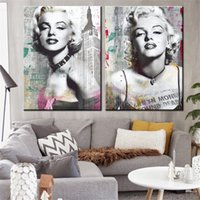 retratos de pintura de quarto venda por atacado-2 peça pintura da lona Marilyn Monroe Retrato da lona cartaz impressão para sala de estar quarto decoração de casa sem moldura