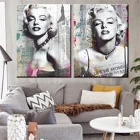 ingrosso ritratti di pittura della camera da letto-2 pezzo tela pittura Marilyn Monroe ritratto su tela poster stampa per soggiorno camera da letto decorazione della casa no frame