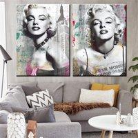 schlafzimmer malerei porträts großhandel-2 stück leinwand malerei Marilyn Monroe Porträt leinwand poster für wohnzimmer schlafzimmer dekoration kein rahmen