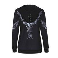 melek kanadı hoodie toptan satış-2018 Kadınlar Melek Kanat Kafatası Baskı Zip Up Hoodie Punk Casual Lace Up Kapşonlu Kazak