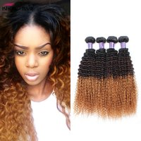 Wholesale Kinky Hair Extensions Products - Ishow Products 3 Tone Ombre Brazilian Peruvia Hair Bundles Kinky Curly Weave Human Hair Extensions 10-28inche T1B 4 30 Remy Hair No Shedding
