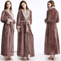 6682295744 New Fashion Women and Men Long Robe Winter Thick Warm Robes Coral Fleece  Sleepwear Hotel Spa Plush Bath Robe Nightgown