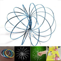 Wholesale silver ring magic trick - Magic Ring Inductive Flowtoys Outdoor Fun Educational Spring Toy 3D Sculpture Ring Magic Tricks Props Stress Relieve