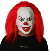 masque joyeux achat en gros de-2018 Halloween Pennywise Clown Mask Top Grade 100% Latex Classique Effrayant Jolly Mask Toy Film Par Stephen King Il Cosplay Props Hommes Chaud