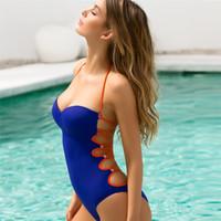 einen einteiligen badeanzug öffnen großhandel-Ein Stück Badeanzug Frauen Sexy Bademode Badeanzug Dame Open Back Aushöhlen Bikini Bandage Einfarbig Badeanzüge 28xc W