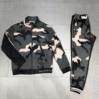 homem ocasional do jérsei do exército venda por atacado-Exército Verde dos homens Sportswear Casual Costura Sportswear Jacket + Calças Set Camisola dos homens Jaqueta Set Frete Grátis