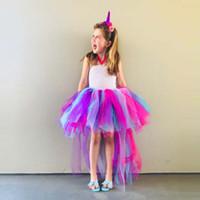 top mideni toptan satış-Unicorn Parti Çocuklar Kızlar için Elbiseler Tutu Elbise Cadılar Bayramı Noel Cosplay Pony Kız Elbise Vestido Prenses Balo