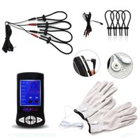 Wholesale sex toys gloves resale online - Electric Shock Toys with Gloves Penis Rings Penis Extender Electric Physiotherapy Massager Sex Toys for Men I9