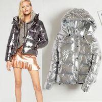 nylon casaco de inverno trincheira venda por atacado-Preto mulheres de prata parka com capuz para baixo jaqueta de inverno trench coat trench coat estilo de rua metálico roupas ciganas único breasted parka womens