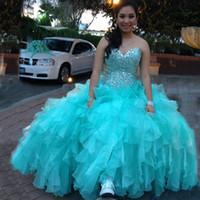 kemikli korse balo elbiseleri toptan satış-Aqua Mavi Turkuaz Quinceanera Elbiseler Lüks Kristaller Kemikli Üst Korse Geri Sevgiliye Kolsuz Ruffled Balo Parti Abiye
