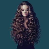 franja média venda por atacado-ZhiFan natural ondas loira marrom peruca encaracolado estilos de peruca 26 polegadas longo marrom cabelo ondulado bate meio