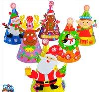 kinderkunstinstallationssätze großhandel-Hand auf Weihnachtsfest Papier Hut Kindergarten DIY Kit Schneemann Hut Kinder kreative Kunst Hand Kind Spielzeug