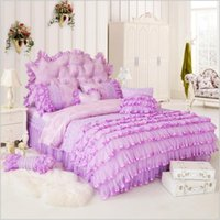 Wholesale Wedding Bedding Sets Lace - Hot sale Luxury Duvet cover bedding set Cotton Lace Princess bed Wedding bedding Romantic bed skirt bedding factory Outlet free shipping