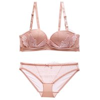a7dd9702f1b floral embroidery lace lash women fashion underwear set sexy young ladies  push up wire free Bralette 1 2 cup dress girls
