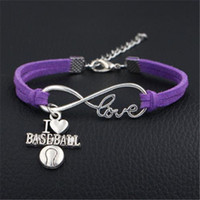Wholesale baseball charms for jewelry making resale online - Dropshipping Vintage Infinity Love Baseball Charm Bracelet Bangles for Women Men Purple Leather Jewelry Bijoux DIY Making Accessories Gifts