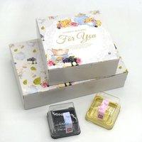 tamaños de caja de pastel de boda al por mayor-Caja de papel para pastel de 4 tamaños Candy Mooncake Cookies Empaquetado de alimentos Boda Baby Shower Party Box