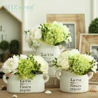 зеленая белая ваза оптовых-Miz Home 1 Piece White Clay Vintage Freshing Green Artificial Hydrangea Berries Vase Set for Home Desktop Vase with Flower