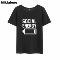 обычные женские майки оптовых-Женская футболка Mrs Win Футболки Social Energy для женщин Футболки Harajuku с коротким рукавом Tumblr Top Femme Regular Плюс размер Летняя футболка Woman