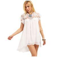 шифон прямое платье оптовых-Женская новая мода короткие платья белый прямо твердые летние кружева шифон повседневная вечерняя вечеринка Sexy Mini Beach Dress Белый