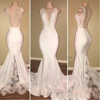 Wholesale embroidery cocktail dresses - Sexy Deep V Neck Mermaid Prom Dresses Long Lace Backless Evening Dress With Lace Appliques Cheap Cocktail Party Gowns Vestidos