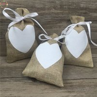 Wholesale natural jute bags resale online - 9x14cm Vintage Natural Burlap Hessia Gift Candy Bags Wedding Party Favor Gift Box Pouch Jute Love Heart Gift Bags Wedding