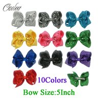 Wholesale Handmade Hairbows - 5 Inch Fashion Sequin Hair Bow Hairpins Handmade Girls Hairbows Accessories Boutique Hair Clips For Children 10 Color In Stock
