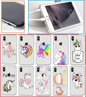 Wholesale Cute Silicone Phone Cases - Cute Cartoon unicorn TPU Painting cell phone Case For iPhone X 5S 6S 7 8 Plus case ultra thin transparent Soft silicone back cover shell