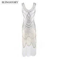 Wholesale white flapper - BLINGSTORY Vintage 1920s Tassel Great Gatsby Dress Women Sequined V Neck Beaded Sequined Art Deco Flapper Dress WZD001