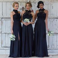 Wholesale chiffon halter wedding dress slit for sale - Elegant Navy blue Bridesmaid Dresses for Wedding Chiffon A Line Halter Slit Formal Dresses Party Lace Modest Maid Of Honor Dress