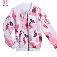 çiçek baskılı üst kat toptan satış-HIRIGIN 2017 Sonbahar Kadınlar Çiçek Baskı Bombacı Ceket Kadın Uzun Kollu Casual Slim Temel Ceketler Fermuar Coats Tops jaqueta