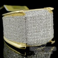 Wholesale eternity diamond band - Men's 10k Yellow Gold 1.50ct Genuine Real Diamond Iced Pinky Ring Eternity Band