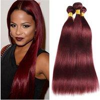 kırmızı bordo kümes saç toptan satış-# 99J Şarap Kırmızı Bakire Brezilyalı Insan Saçı Örgüleri Ipeksi Düz Çift Atkı Uzantıları 3 Adet Bordo Kırmızı Bakire Insan Saç Demetleri Fırsatlar