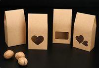 sacos de doces de casamento marrom venda por atacado-50 pçs / lote sacos de papel kraft / caixas de Papel marrom janela de pé para o casamento / Presente / Jóias / Alimentos / Embalagem de Doces Sacos 8x5x16 cm