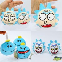 Wholesale soft plush backpacks for kids - Soft Plush Doll Pendent Rick And Morty Q Edition Mr Meeseeks Backpack Hanger Stuffed Decoration Toy For Kids 4 8sj WW