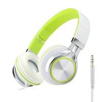 renkli tabletler toptan satış-Kulaklıklar mic ile 6 renk earphoner Stereo Kulaklıklar Güçlü Bas Kulaklıklar Mp3 çalar Dizüstü PC Tablet Katlanır Kulaklık 3.5mm Jack