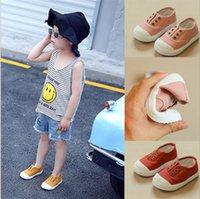 свободные доски холста оптовых-Большие дети обувь Детская обувь холст обувь s девушки мягкой подошвой кожа головы обувь мальчики повседневная доска обувь 7 цветов бесплатная быстрая доставка YL471