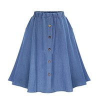 Wholesale Fashion Trends Skirts - Europe US summer fashion trend cute blue knee length denim Skirts high quality cotton Pleated Elastic Tight waist band buttons